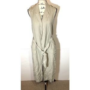 Elevenses Long Sleeveless Trench Cardigan Tie Up